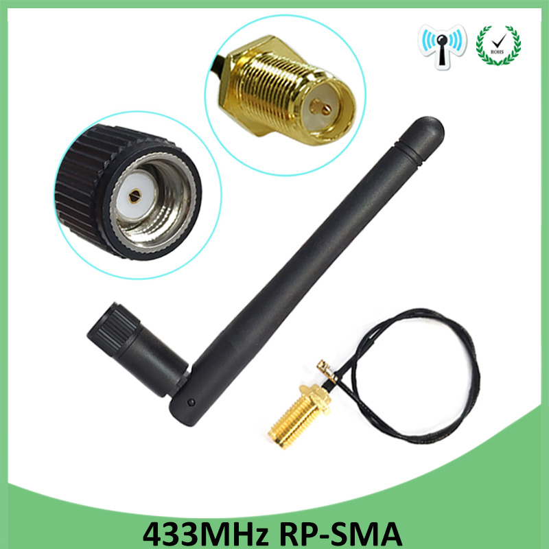 5pcs 433Mhz Antenna 3dbi GSM 433 Mhz RP-SMA Connector Rubber 433m Lorawan Antenna+ IPX To SMA Male Extension Cord Pigtail Cable
