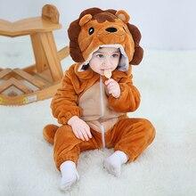 Детская Пижама комбинезон Kigurumis с животными, мягкая Пижама с изображением Льва, забавная одежда для сна для новорожденных, детский комбинезон, костюм для младенцев