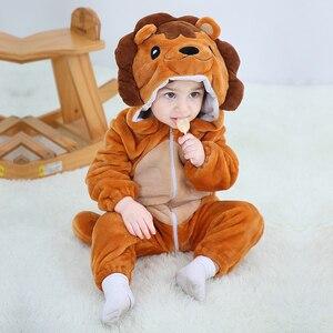 Image 1 - Детская Пижама комбинезон Kigurumis с животными, мягкая Пижама с изображением Льва, забавная одежда для сна для новорожденных, детский комбинезон, костюм для младенцев