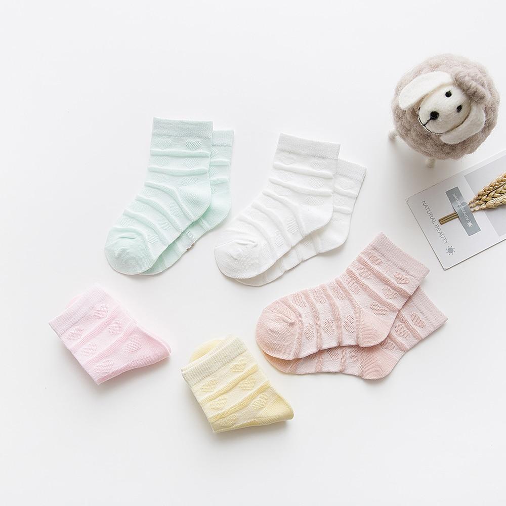 5Pairs/lot 2-9Y Baby Socks Summer Cotton Striped Heart Thin Kids Socks Solid Girls Mesh Cute Newborn Boy Toddler Socks Baby 4