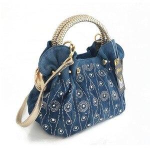 Image 2 - iPinee Luxury Women Demin Handbag Women Messenger Bag Female Jeans Shoulder Bag Womens Rivet Bags sac a main