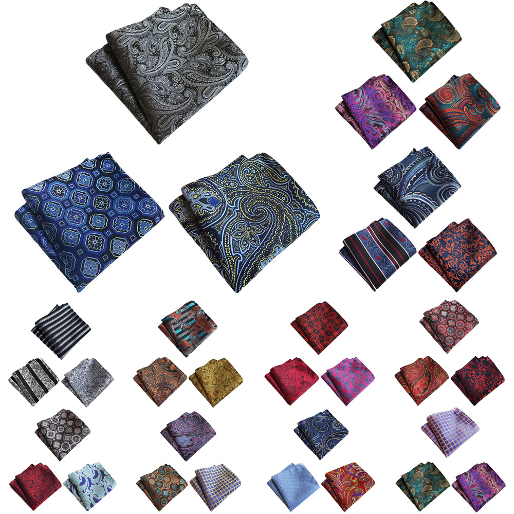 3 Packs Men Flower Paisley Print Pocket Square Handkerchief Wedding Party Hanky HZTIE0373
