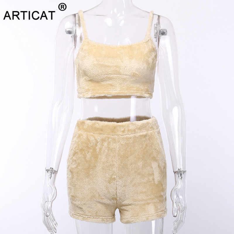 Articat 2019 verano otoño Mujer dos piezas conjunto chándal sin mangas mujer mono ropa trajes Crop Top y pantalones conjunto trajes