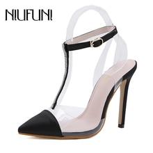 NIUFUNI T-Strap Pointed Toe Rhinestone Transparent Women Sandals Buckle Stiletto High Heels Wedding Shoes Woman Summer Footwear