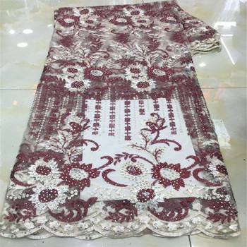 2019 African Lace Fabric High Quality Stones Nigerian French Lace for Party Embroidered Swiss Voile Lace in Switzerland Wedding