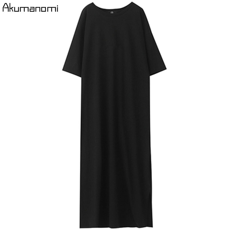 Black Cotton Long Dresses Ladies Plus Size Women Xxxl 4xl 5xl 6xl 7xl O-neck Short Sleeve Befree Maxi Casual Dress Cotton Tops 4