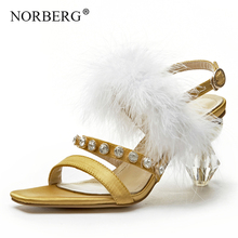 Fashion personality crystal women high heel feather accessories woman party shoes summer women's sandals brand shoes czrbt woman shoes famous brand crystal 100