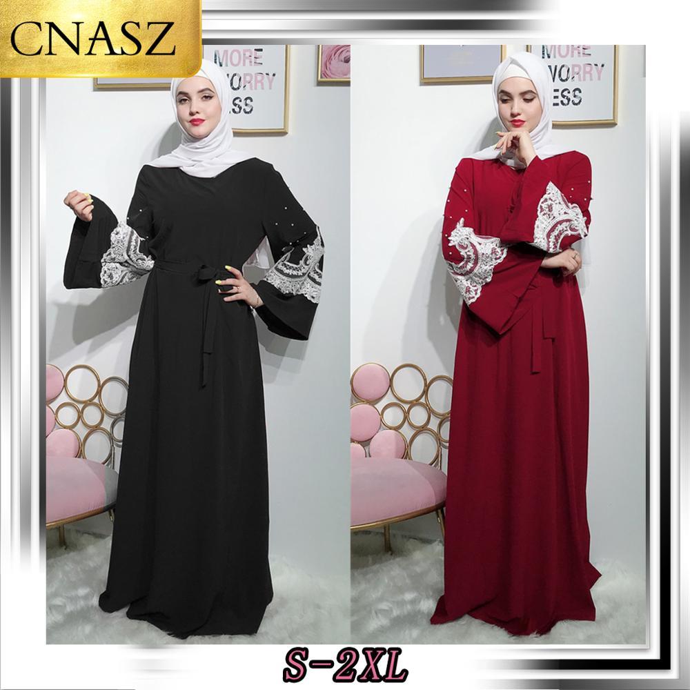2019 Elegant Muslim Dubai Sweet Beaded Strap Long Section Middle Eastern Dress Islam  Abayas For Women  Long Sleeve Dress