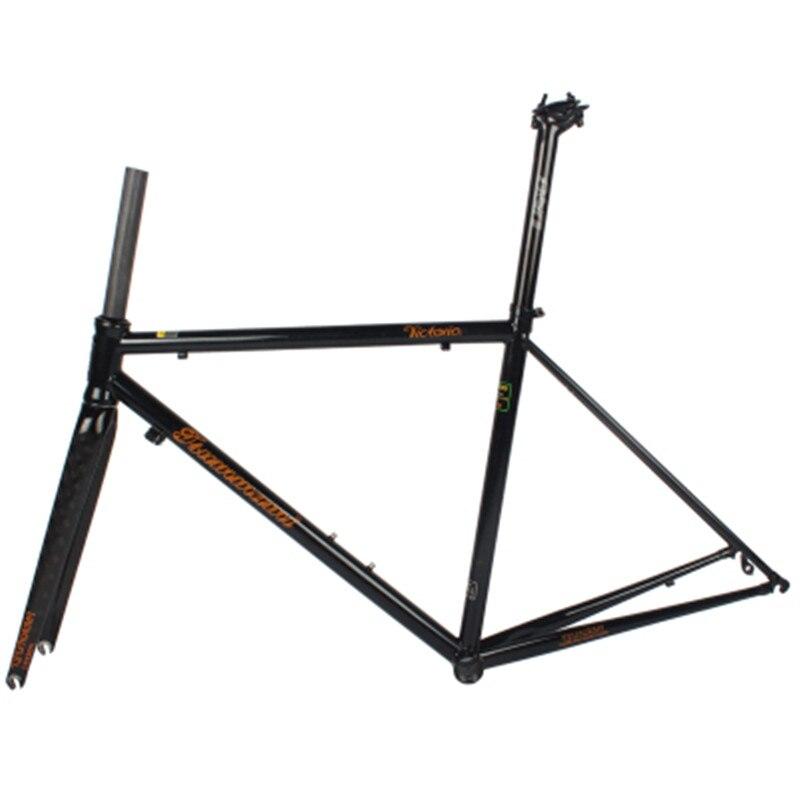 TSUNAMI Road Bicycle Frame  Ultralight Chromium-molybdenum Steel Frame +full Carbon Fork Or Steel Fork Bike Frame 47/50/53 CM