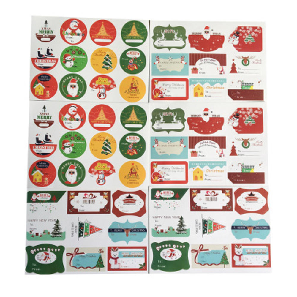 12pcs/sheet Merry Christmas Santa Claus Deer Decorative Round Self-adhesive Sealing Stickers Gift Stationery Sticker Can Writtin