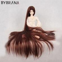 Bybrana 70cm BJD perruque pour 1/3 1/4 1/6 1/8 haute température fibre Girl multicolore très longs cheveux pour poupées