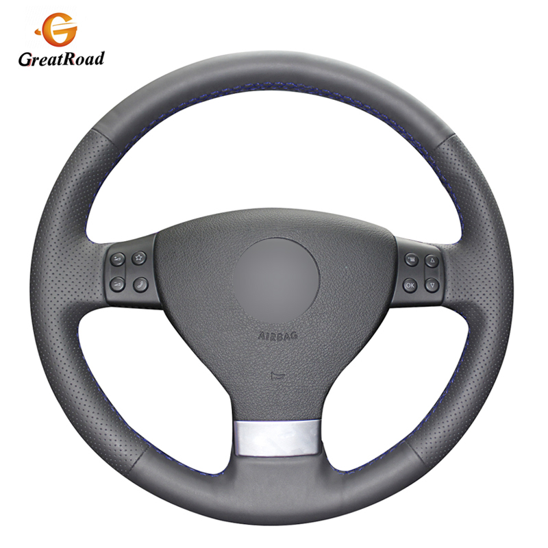 Black PU Artificial Leather Car Steering <font><b>Wheel</b></font> <font><b>Cover</b></font> for Volkswagen Golf 5 Mk5 VW <font><b>Passat</b></font> <font><b>B6</b></font> Jetta 5 Mk5 Tiguan 2007-2011 image