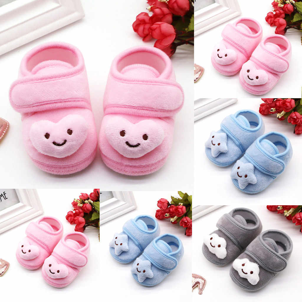 Newborn Baby Girls Shoes Plush cute Stars Cloud First Walkers Hook&Loop Winter Boots Soft Sole Anti-slip Infant Warm Shoes