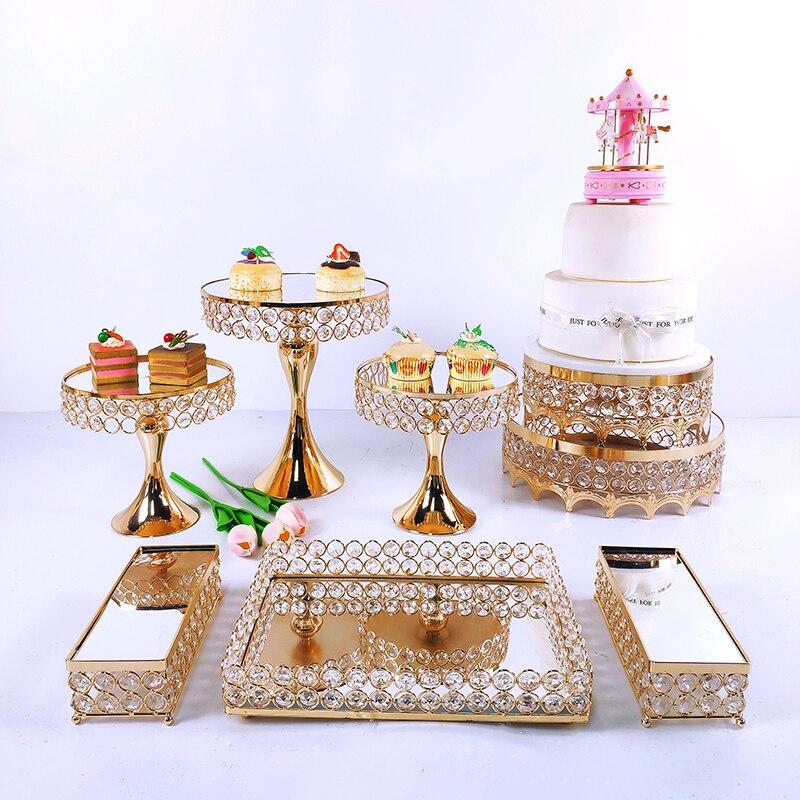 3-9pcs Crystal Metal Cake Stand Set  Acrylic Mirror Cupcake Decorations Dessert Pedestal Wedding Party Display Tray