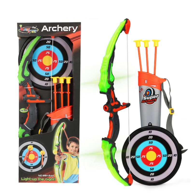 Light Up Archery Bow And Arrow Toy Set For Boys Girls With 3 Suction Cup Arrows R7RB