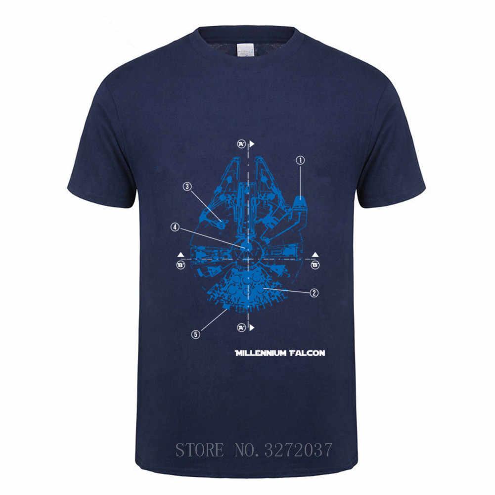 Star wars Blueprint millennium Falcon Glow In The Dark T Camicette Adulto Estate Del Manicotto Del Bicchierino 2019 di Nuovo Modo Tee degli uomini t Camicette
