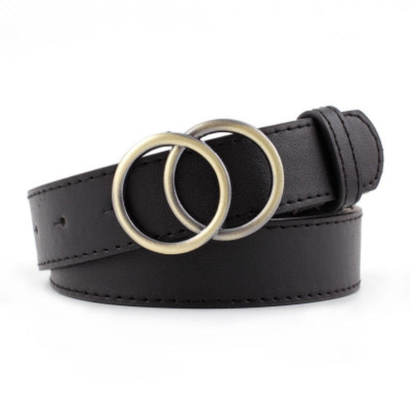 1PC Genuine Leather Women's Alloy Double Ring Buckle Fashion Adjustable Belt Retro Punk Ladies Dress Jeans Student Belts