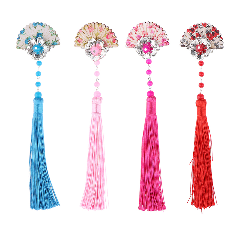Chinese Style Vintage Wood Fan Tassel Hair Clip Pin Kimono Geisha Headpiece Costume Cosplay Children Hairpin Hair Accessories