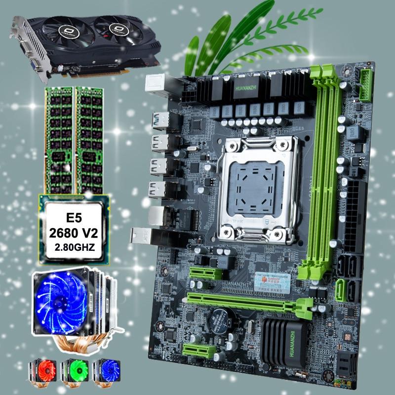HUANANZHI X79 6M Motherboard Intel Micro ATX Motherboard CPU Intel Xeon E5 2680 V2 With Cooler RAM 32G(2*16G) RECC GTX750TI 2G
