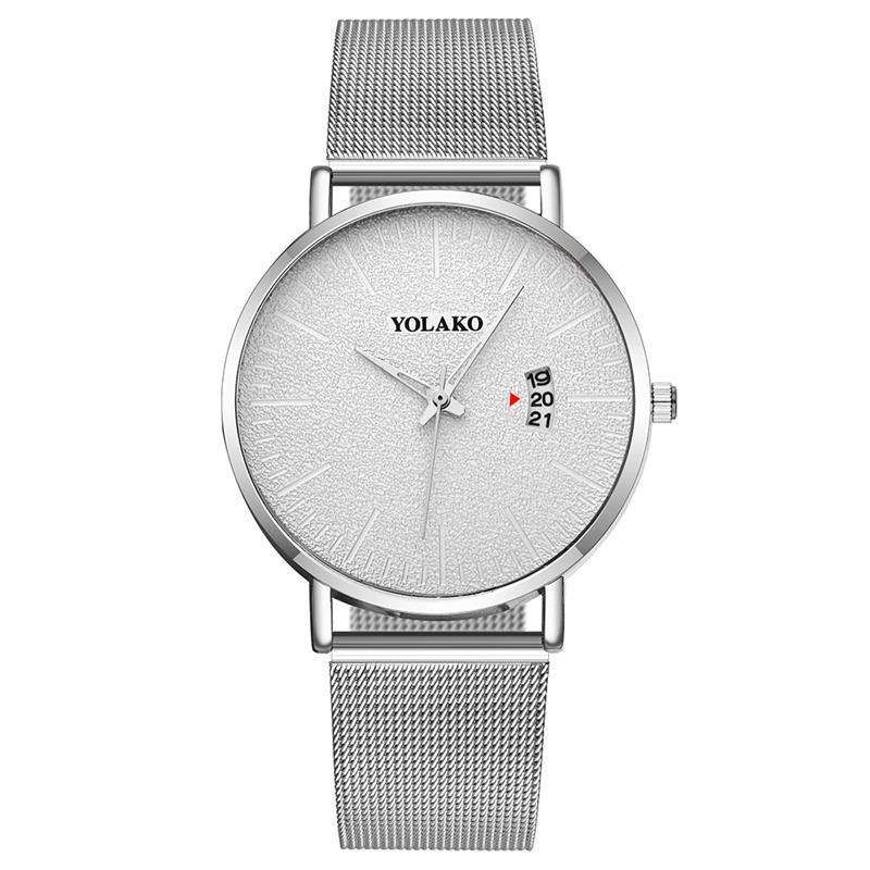 EBay Wish Lazada Trill Popular Contracted Men Mesh Belt Calendar Quartz Watch British Style