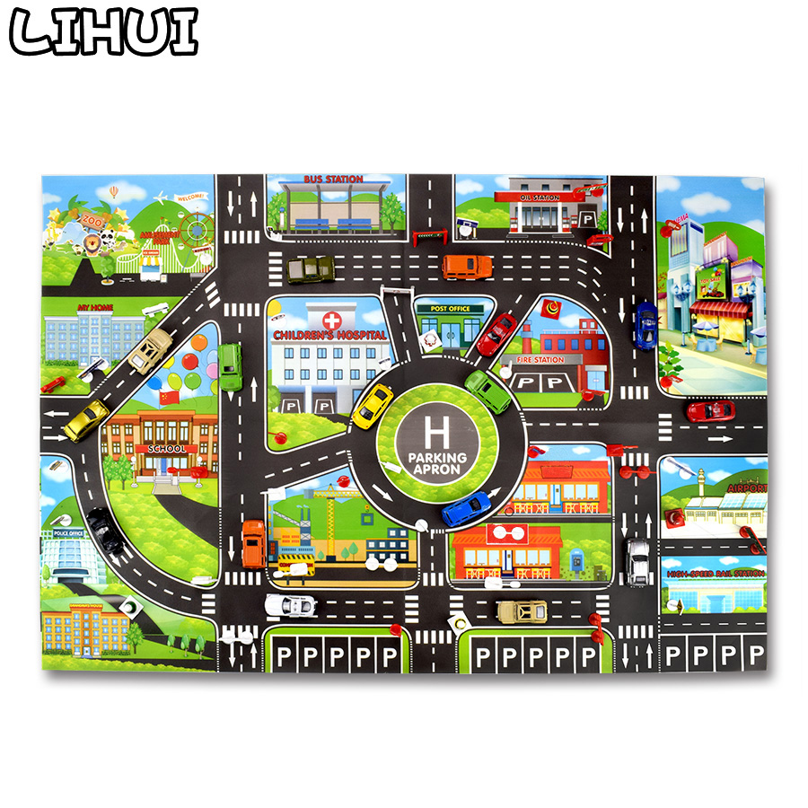 Kids Toys City Parking Lot Roadmap DIY Traffic Road Signs Diecast  Alloy Toy Model Car Climbing Mats Toys For Children Gift Game