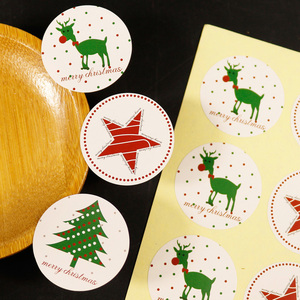 Image 1 - 108pcs Christmas Tree Seal Sticker Merry Christmas Deer Elk Star Paper Stickers Self Adhesive Paper Label Baking Gift Stickers