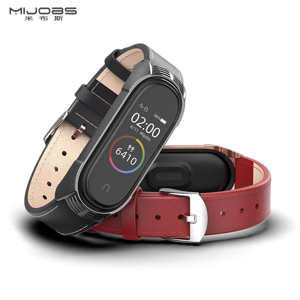 Mi Band 4 Strap Genuine Leather For Xiaomi Mi Band 3 Bracelet Miband 4 3 Wristbands New Style Strap Mijobs Design