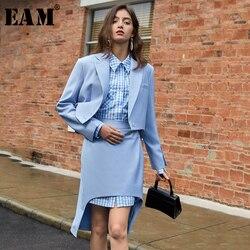 Женский Асимметричный костюм [EAM], синий свободный костюм из двух предметов с длинными рукавами и отложным воротником, весна-осень 2020 1T614