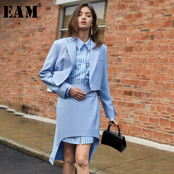 [EAM]  Half-body Skirt Blue Irregular Two Pieces Suit New Lapel Long Sleeve Black Loose Women Fashion Spring Autumn 2020 1T614