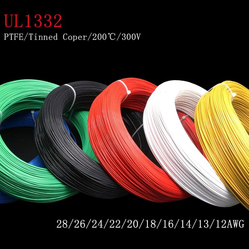 1m/2m 28/26/24/22/20/18/16/14/13/12 awg ul1332 ptfe fio fep plástico isolado de alta temperatura cabo de elétron 300v|Fios elétricos|   -