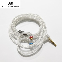 Audiosense 8 Strengen 19 Core Verzilverd Koperen Kabel 3.5Mm Met Mmcx Connector Voor T180 T260 T300 T800