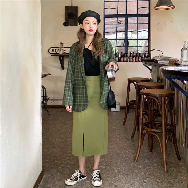 KINOMI 秋新着グリーンチェック柄ブレザー Ol ボタンの女性のジャケットブレザーノッチ襟女性のコートのファッション 2019