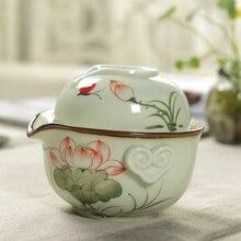 1 горшок 1 чашка Gaiwan расписанный вручную фарфоровый чайник чашка для чая, гайвань дорожный чайный набор кунг-фу чайные наборы чайная чашка Quik керамический чайник