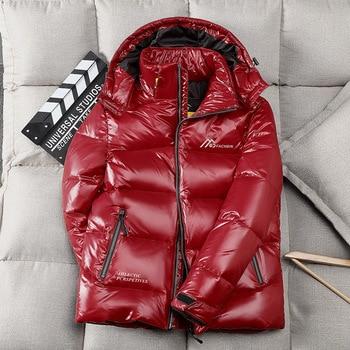 Winter Jacket Men Down Parkas Coat 90% White Duck Down Coat Waterproof Hooded Keep Warm Shiny Parkas Jacket Parkas недорого
