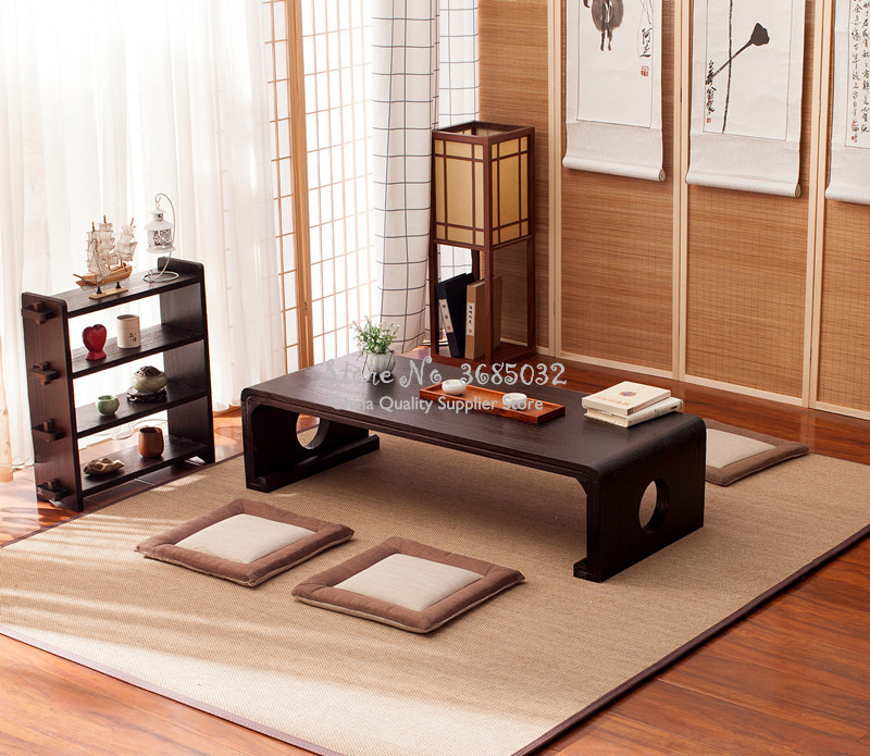 Japanese Vintage Indoor Wood Furniture Asian Style Coffee Tea Living Room Low Table Rectangle 60*40cm Tatami Floor Table