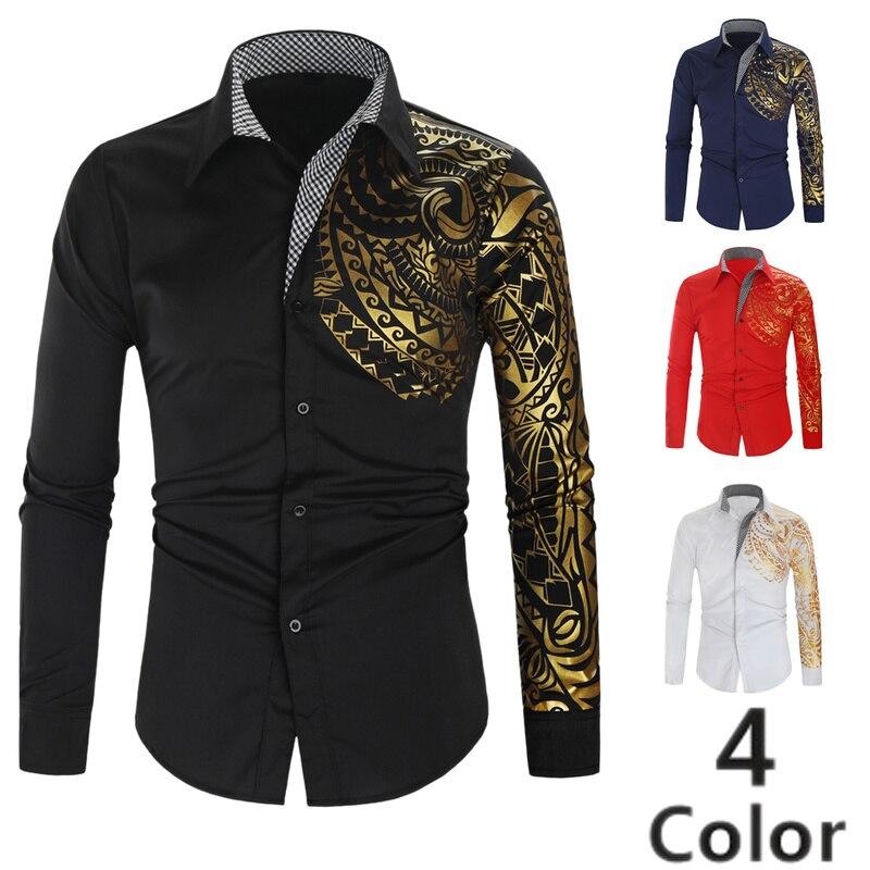 Men's Casual Shirts 2019 Korean Fashion Dragon Printed Long Sleeve Blouse Business Slim Fit Dress Shirt Camisa Masculina