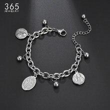 Bracelet religieux en acier inoxydable avec médaille de Saint bénit, avec perles, réglable, cadeau d'anniversaire pour hommes et femmes
