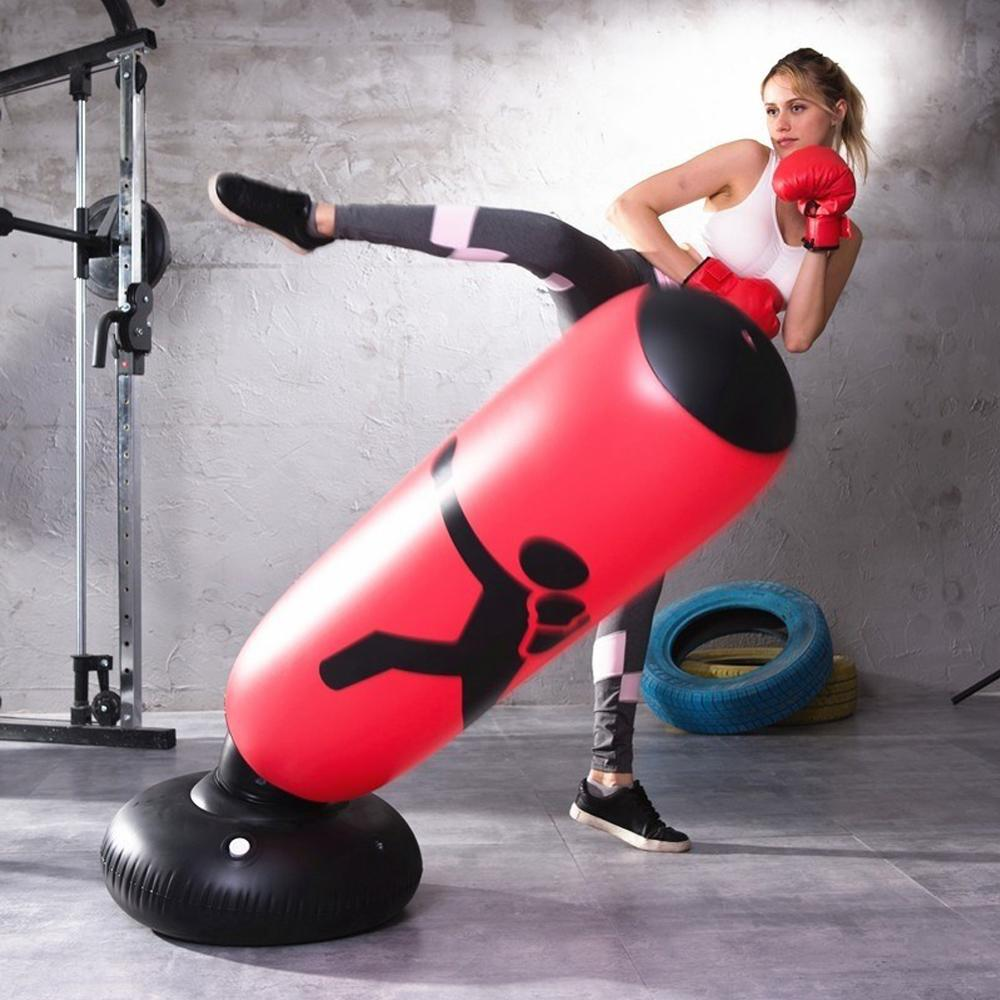 Boxing Punching Bag Inflatable Free Stand Tumbler Muay Thai Training Pressure Relief Back Sandbag with Air