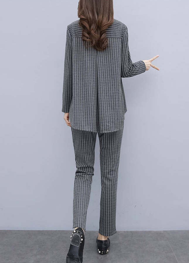 L-5xl Plus Size Striped Two Piece Sets Outfits Women Long Sleeve Tops And Pants Suits Casual Office Elegant Korean Matching Sets 32