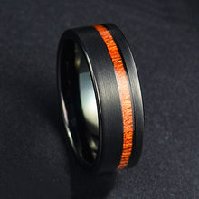Vintage 8mm Width Men Rings Stainless Steel Rings Black Color Brushed Finishing Inlay Koa Wood Fashion Rings Male Jewelry Gift(China)