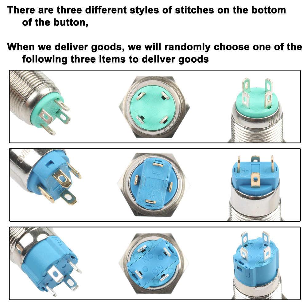 12mm LED 3V 5V 12V 24V 220V Metall Taste Schalter Momentary Rast push button auto reset wasserdichte beleuchtet Ring