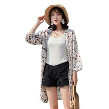 Chiffon Print Holiday Cardigan Women Flower Sun Protection Clothing Seven-Point Sleeve