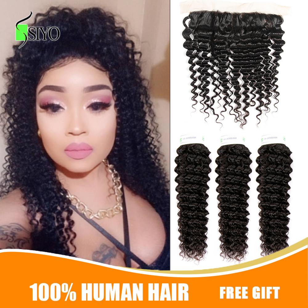 """Siyo Deep Wave 3 Bundles With Frontal 8-26"""" M Remy Human Hair With 13x4 Lace Frontal Malaysian Hair Bundles With Closure"""