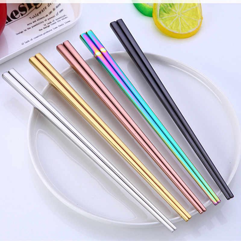 Hot Skid ป้องกัน Rainbow ตะเกียบสแตนเลสสตีลบนโต๊ะอาหารตะเกียบอาหารจีนอาหาร Chop Sticks เครื่องมือห้องครัว @ 3