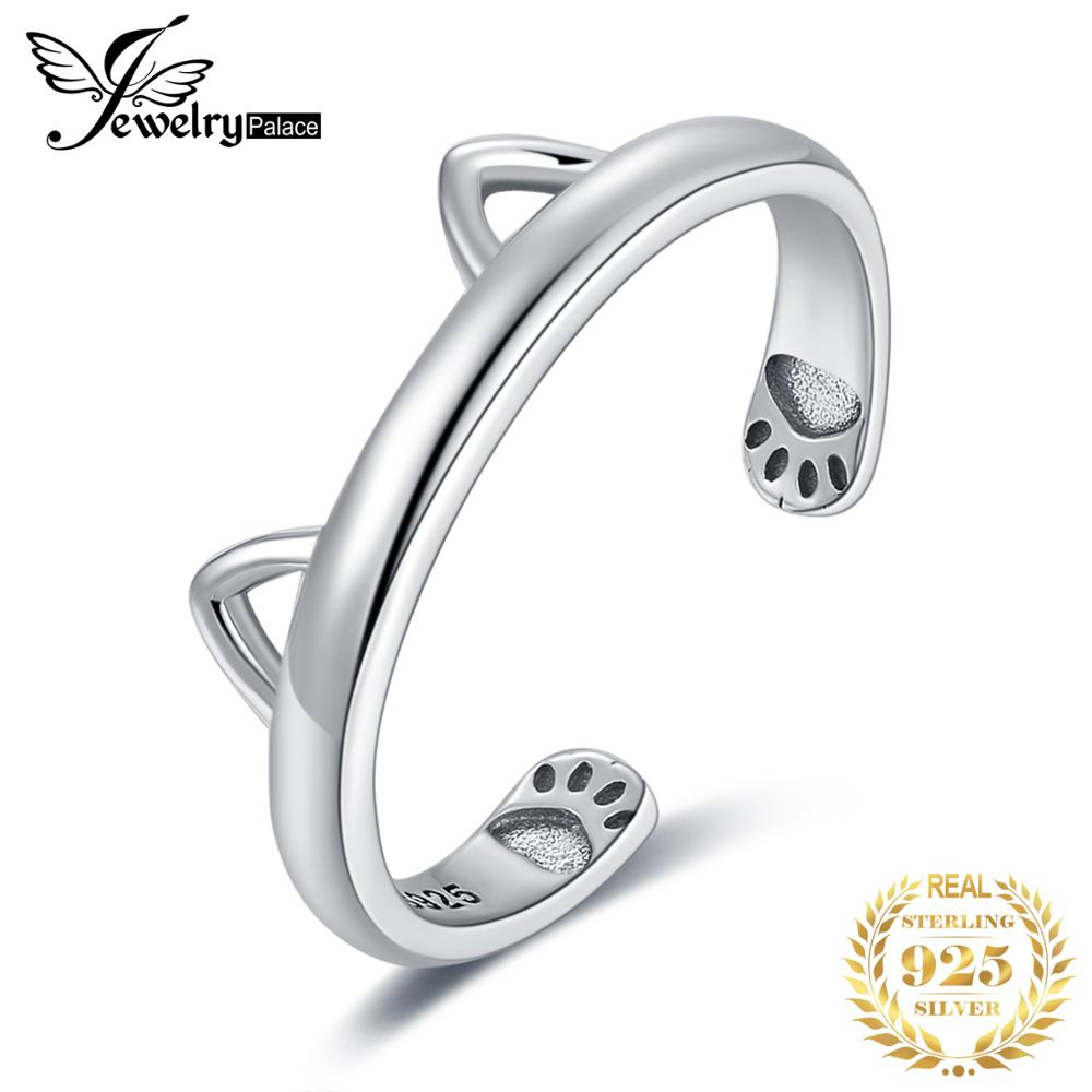 JewelryPalace Lovely Cat Ear Adjustable Open Ring 925 Sterling Silver Rings for Women Jewelry Making Fashion Jewelry Gifts