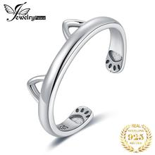 JewelryPalace Lovely Cat Ear Adjustable Open Ring 925 Sterling Silver Rings for Women Jewelry Making Fashion Gifts