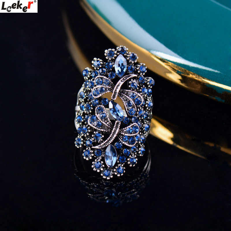 LEEKER Women Vintage Hollow Dragonfly Rings With Shiny Dark Blue Cubic Zirconia Female Silver Color Animal Jewelry 565 LK1