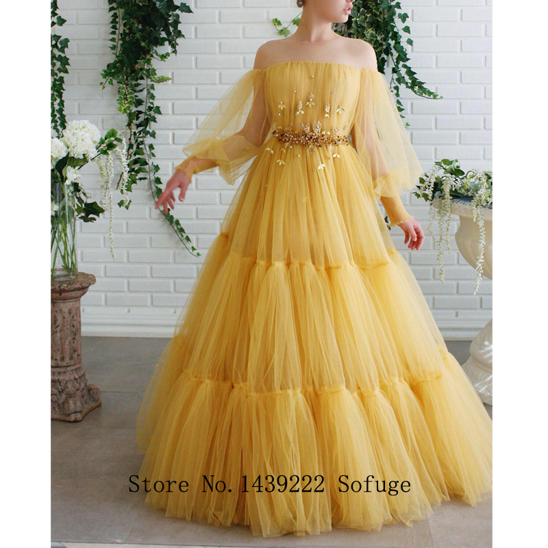 Long Old Yellow Scoop Aline Evening Dresses Prom Plus Size Beads Belt Pleat Puff Sleeves Robe De Soiree