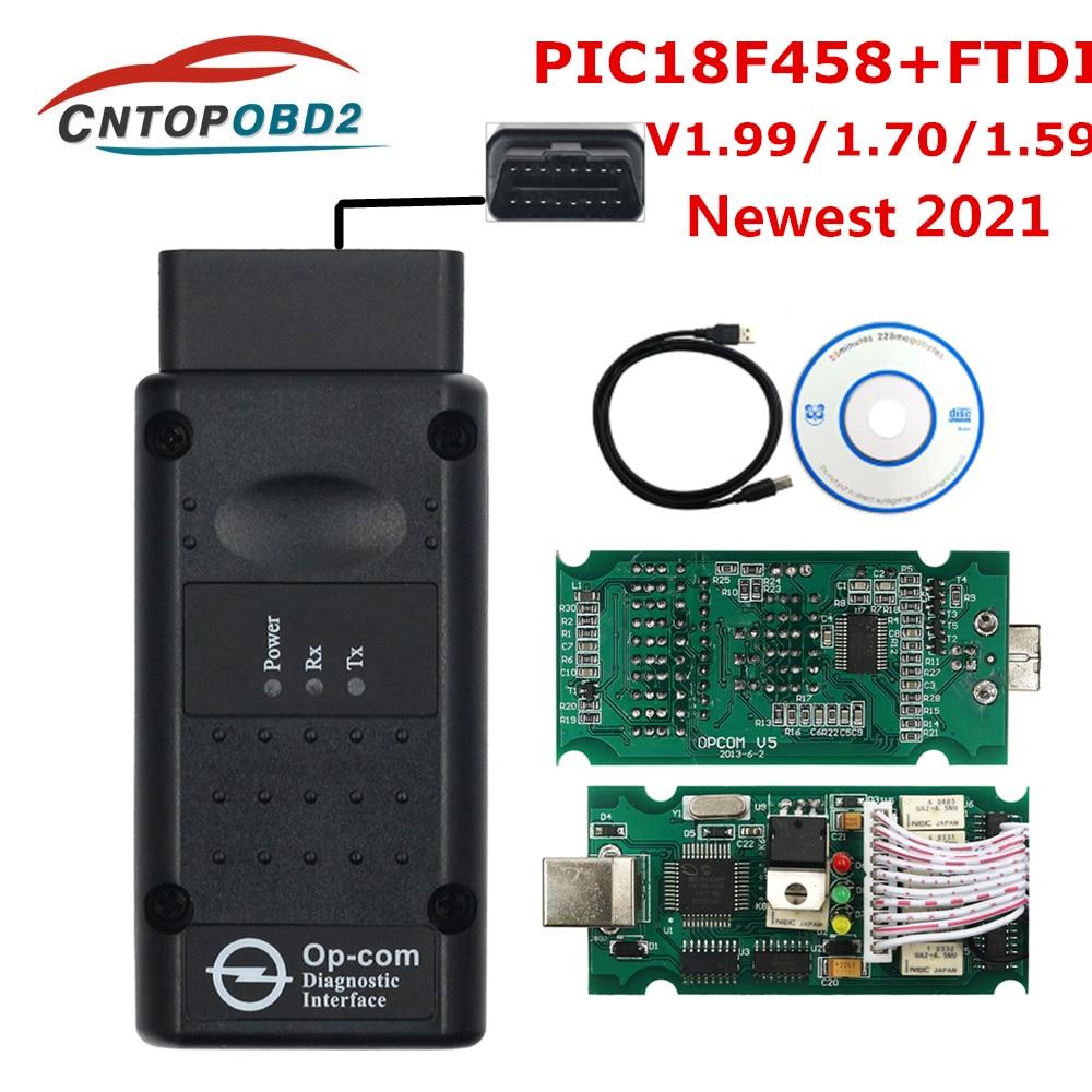 OPCOM 2021 V1.95 с PIC18F458 FTDI для автомобиля Opel OP COM 1,99 1,95 1,70 флэш-обновление прошивки Opel OP-COM подключению CAN-Шины диагностический слишком