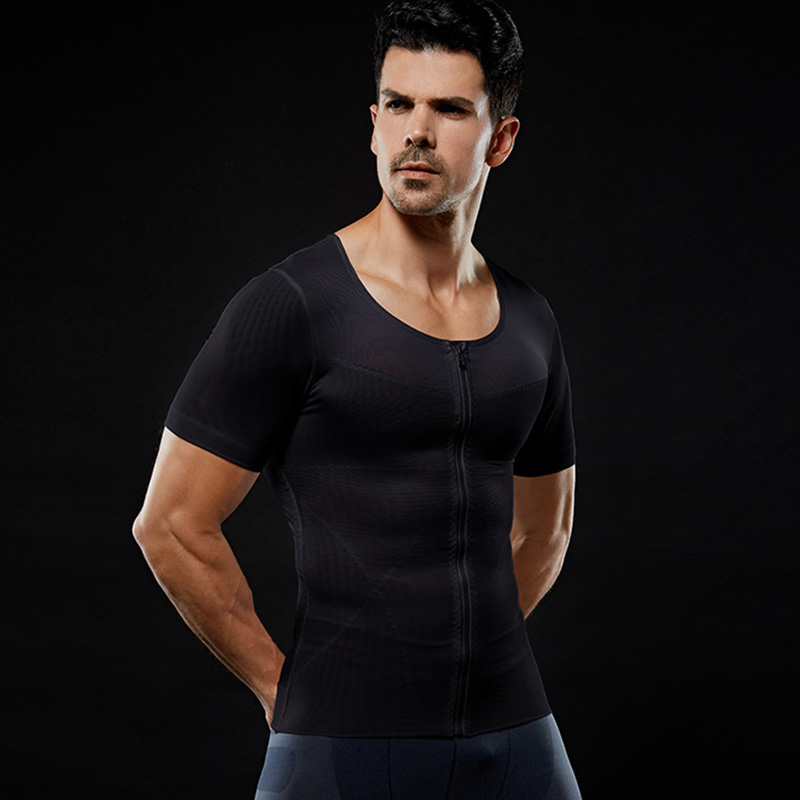 Image 2 - IYUNYI Men Body Shapers T shirt Lose Weight Slimming Tops Men Chest Shapers Belly Stomach Shapewear Posture Corrector T Shirt-in Shapers from Underwear & Sleepwears on AliExpress